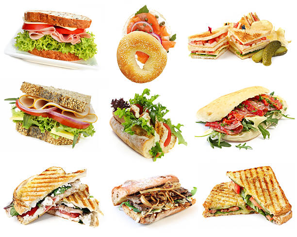 sandwiches collection - club sandwich stock photos and pictures