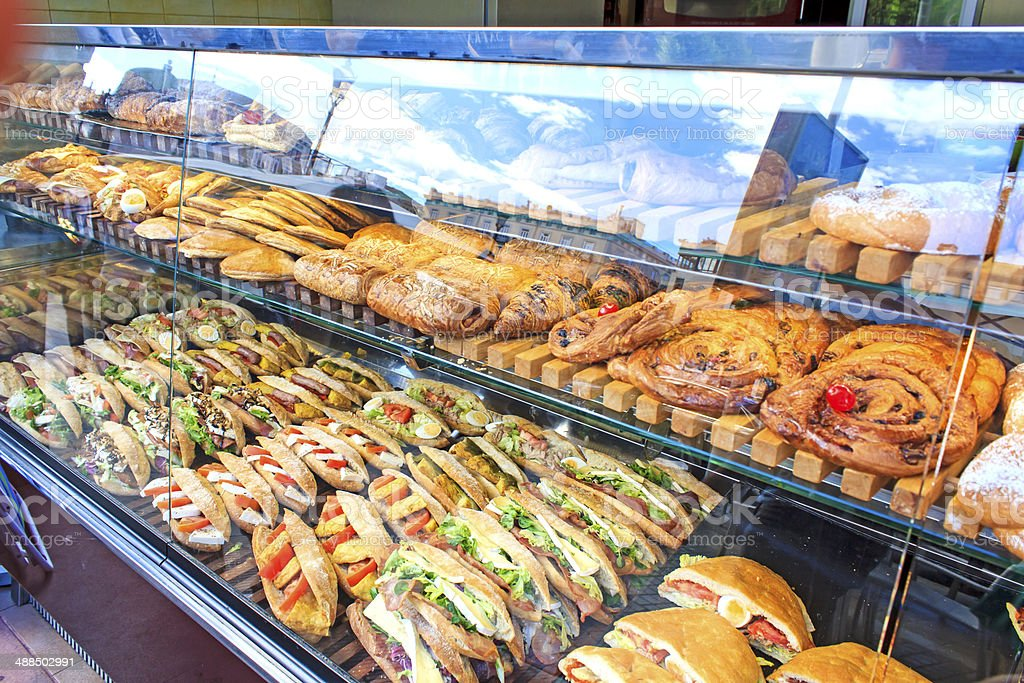 Sandwiches display stock photo