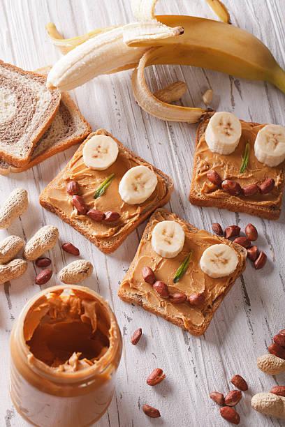 sandwiches for children with peanut butter vertical top view - peanutbutter bildbanksfoton och bilder