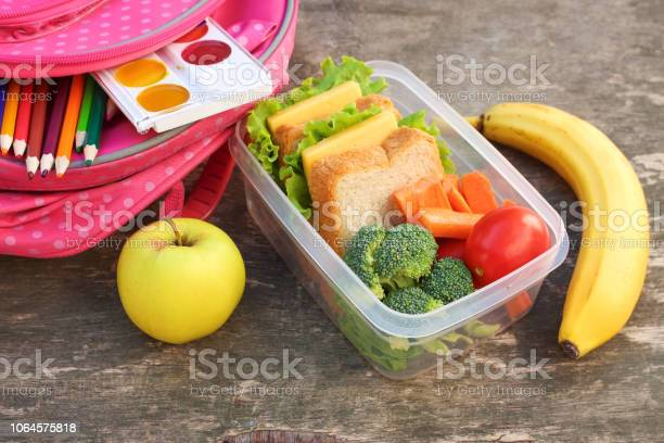 Sandwiches fruits and vegetables in food box backpack on old wooden picture id1064575818?b=1&k=6&m=1064575818&s=612x612&h=4hf1lvk3r0pj2j9d9tze6i zoralgy7oxkpfar1e9d4=