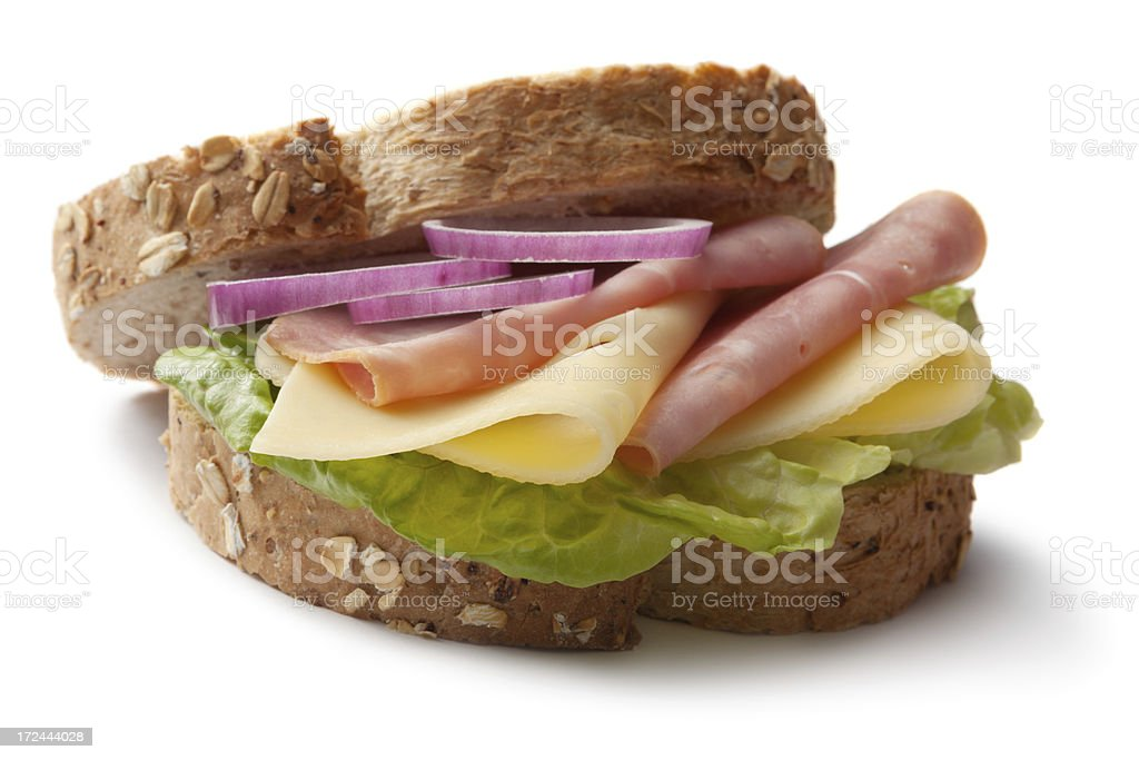 Sandwiches: Ham and Cheese Sandwich Isolated on White Background stock photo