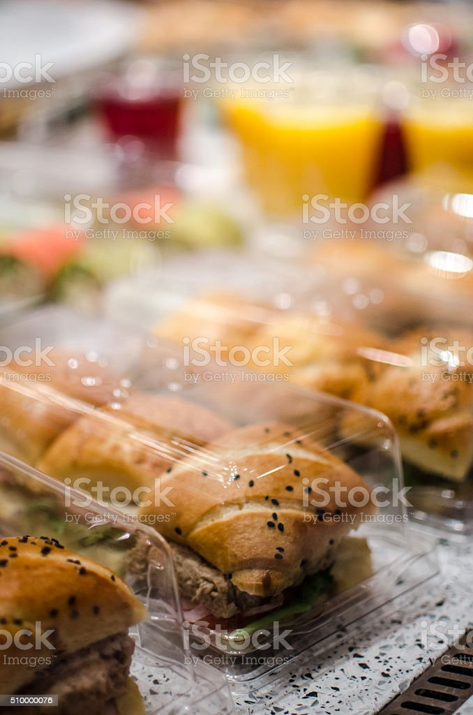 Sandwiches in a bakery at lunchtime stock photo
