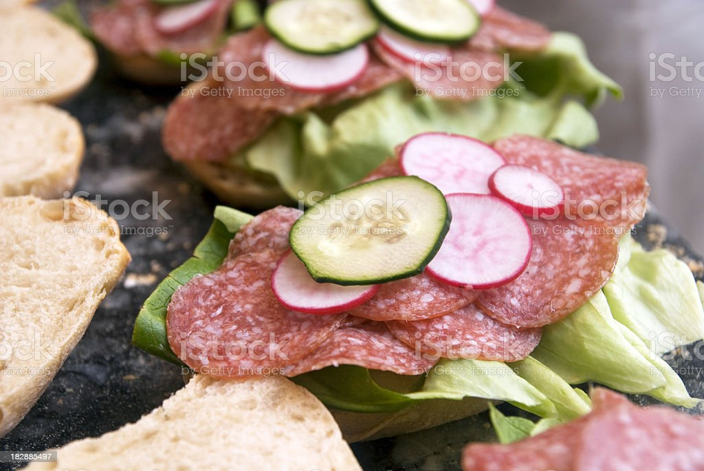 sandwiches in a row royalty-free stock photo