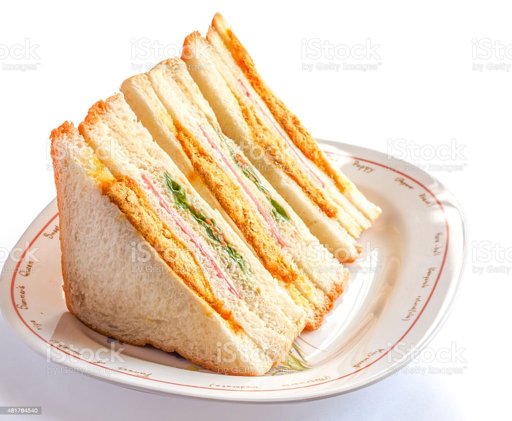 Sandwiches in front of a platter of various fillings stock photo