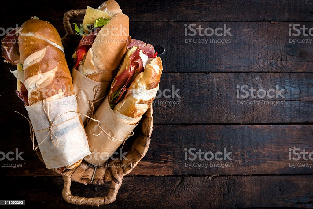 Sandwiches in the basket stock photo