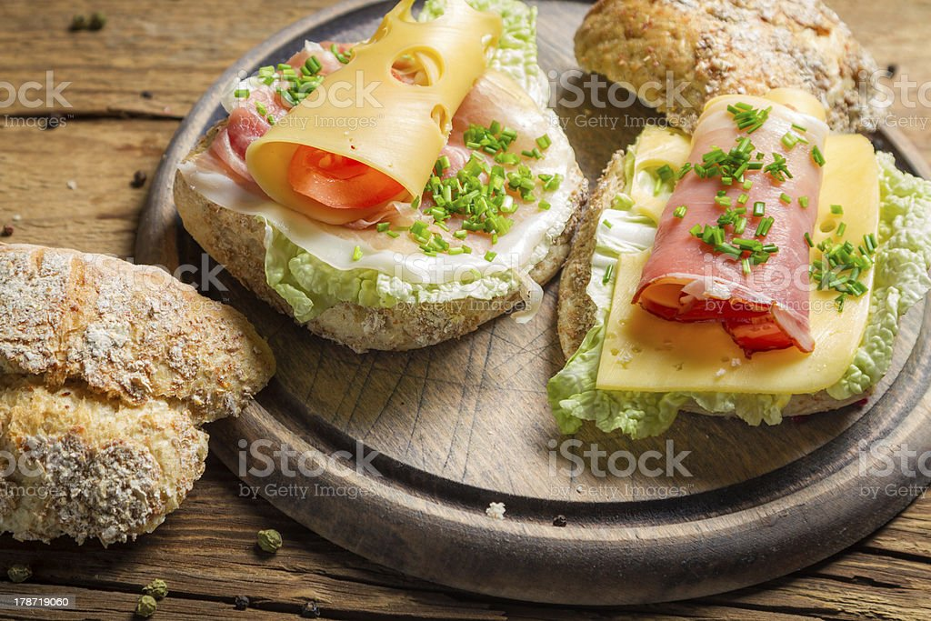 Sandwiches made of fresh vegetables royalty-free stock photo