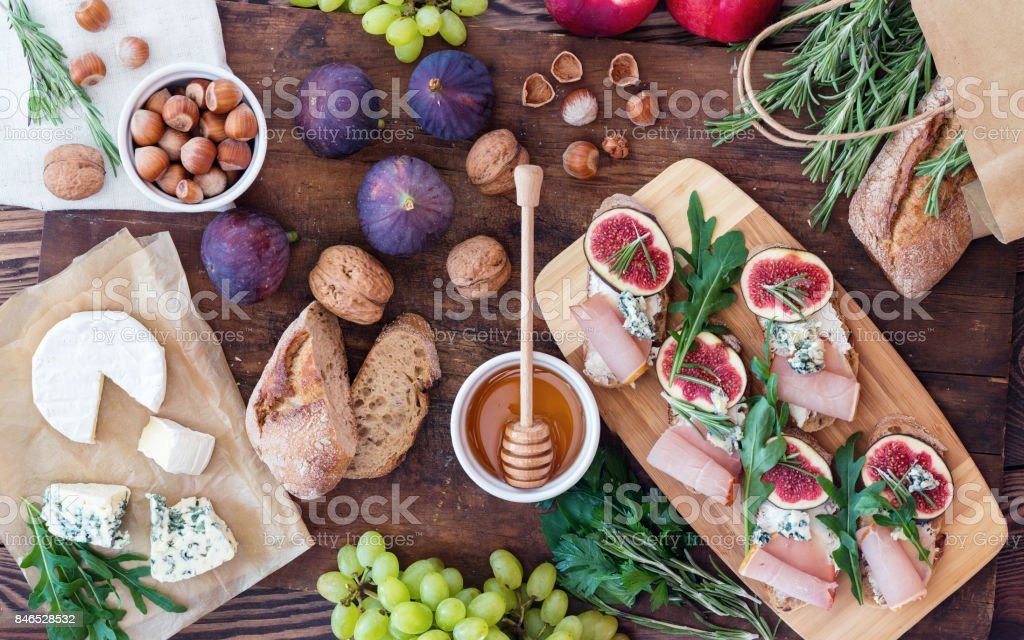 Sandwiches  with arugula, figs and blue cheese stock photo