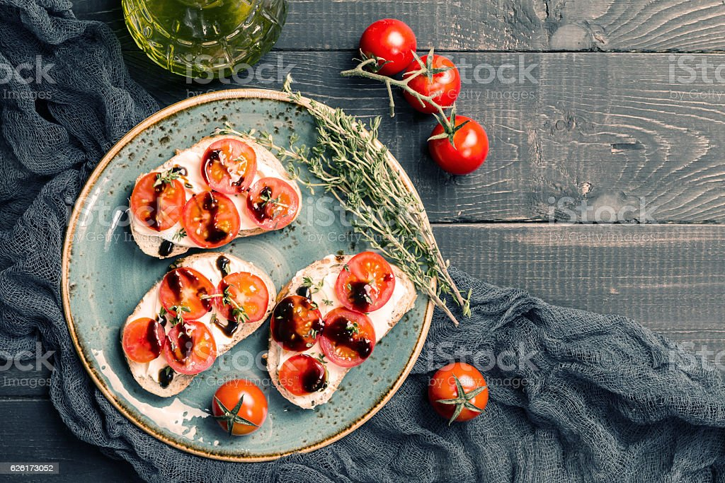sandwiches with cherry tomatoes stock photo