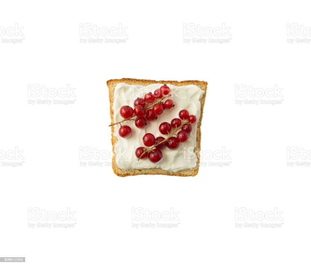 Sandwiches with cream cheese and fresh red currants. stock photo