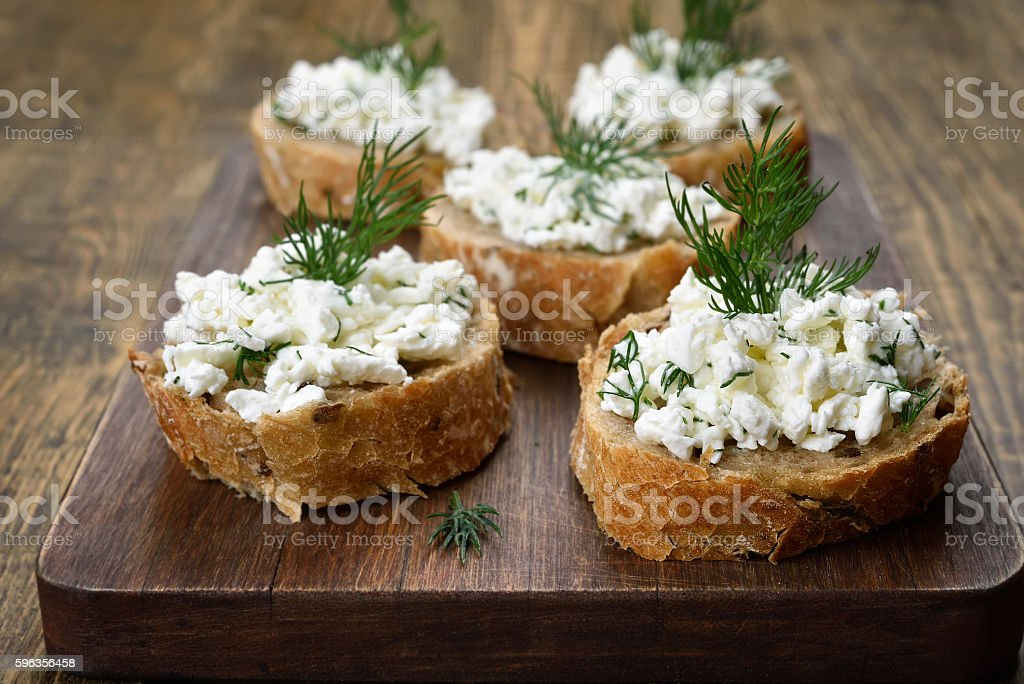 Sandwiches with curd cheese royalty-free stock photo
