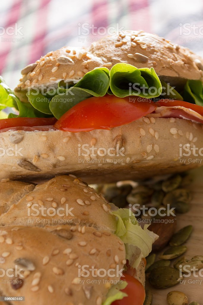 Sandwiches with fresh smoked meat royalty-free stock photo