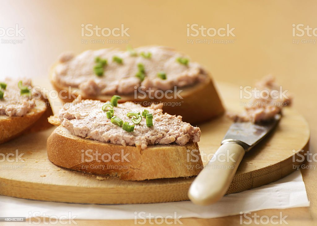 Sandwiches with meat pate. stock photo