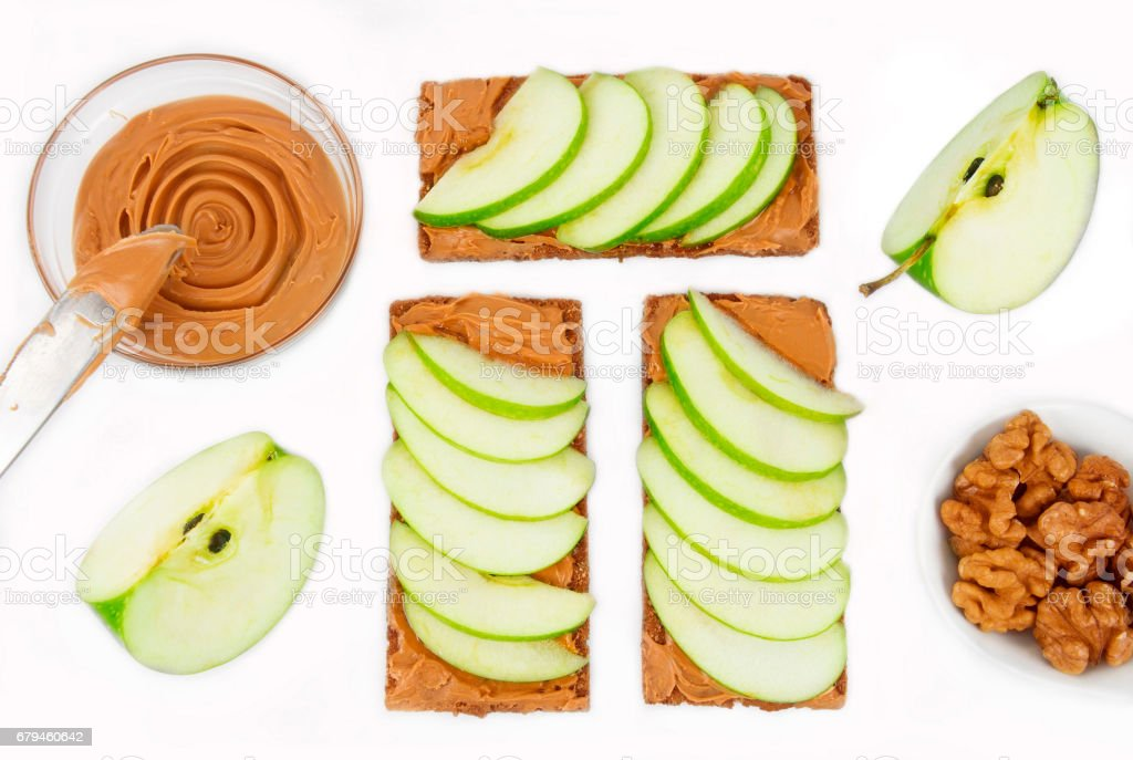 Sandwiches with peanut butter and an apple royalty-free stock photo