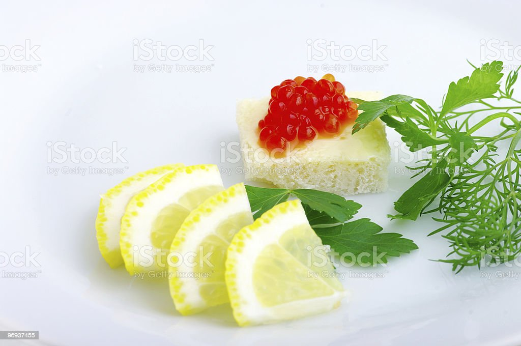 Sandwiches with red caviar royalty-free stock photo