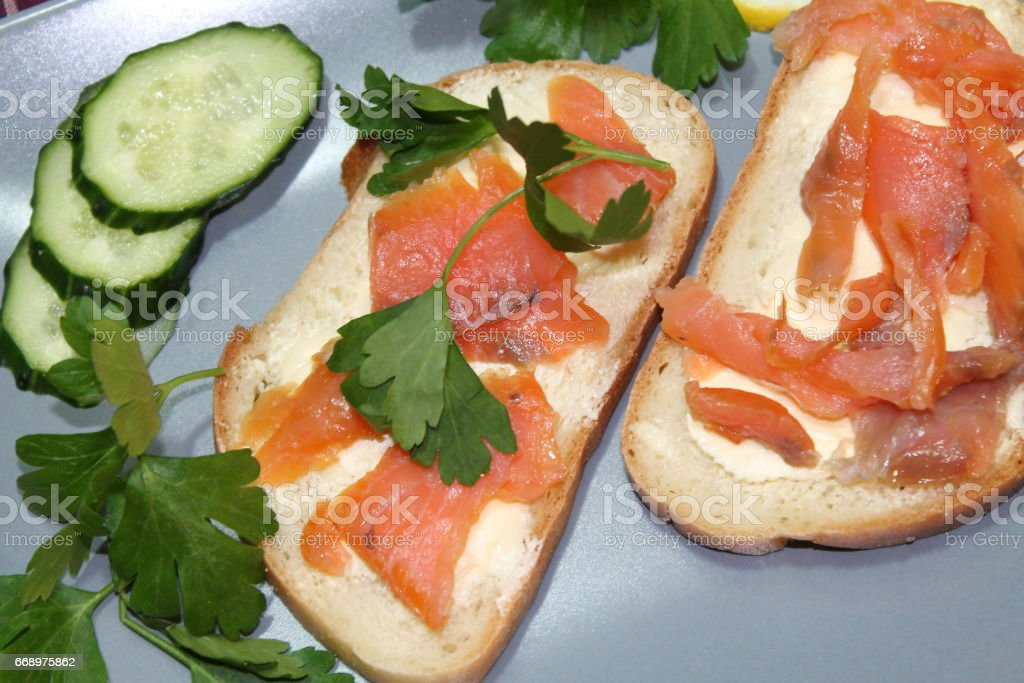 Sandwiches with red fish foto stock royalty-free