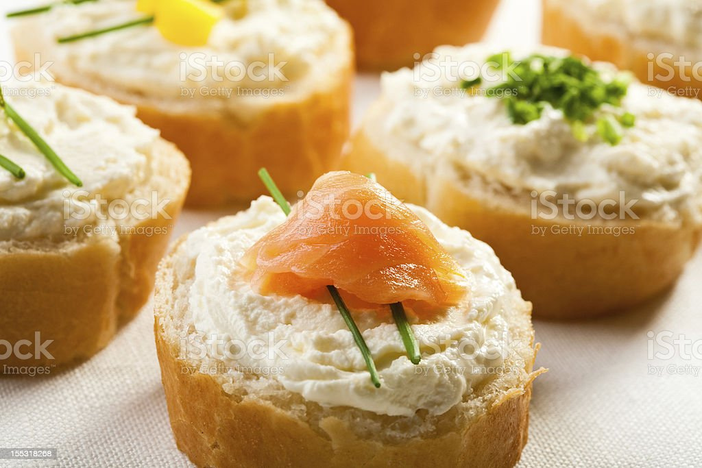 Sandwiches with smoked salmon royalty-free stock photo