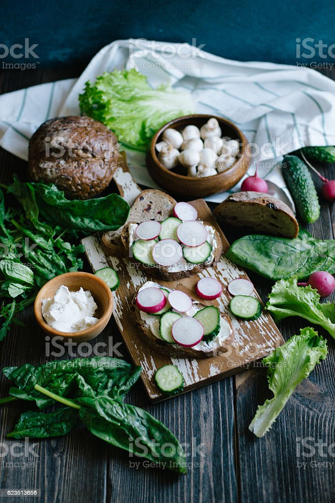 Sandwiches with vegetables and cheese stock photo