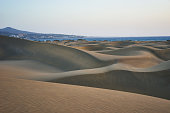 Large sandy and wavy dunes at south-beach of Gran Canaria but lookalike desert Sahara