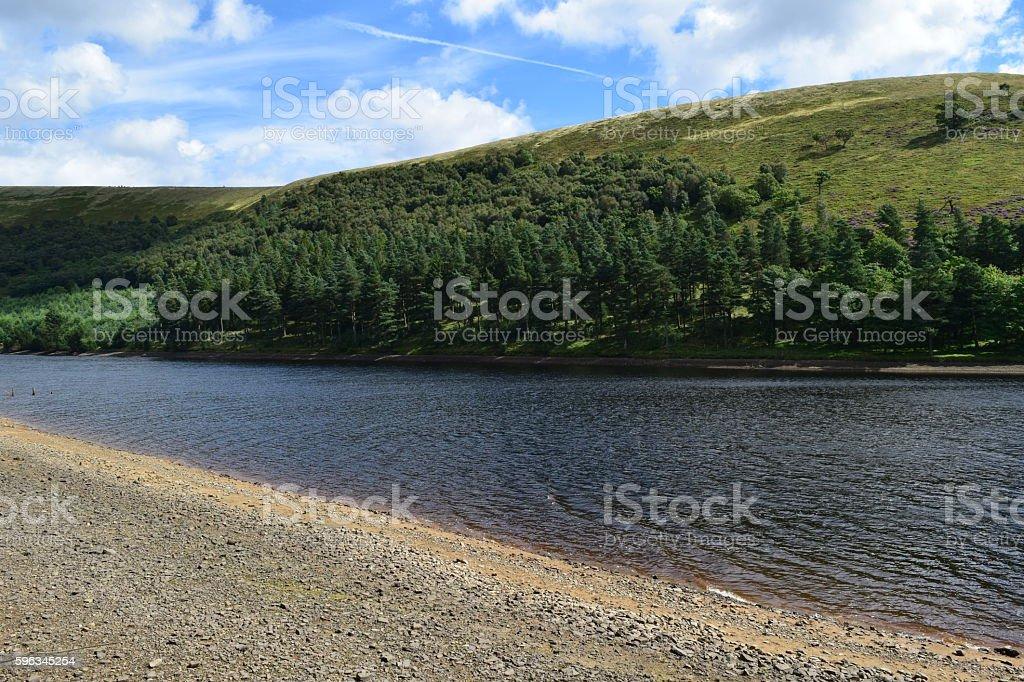 Sandy bank of a reservoir Lizenzfreies stock-foto