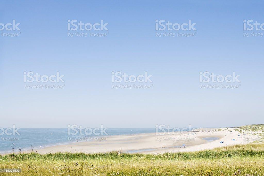 Sandy beach and dunes at Zeeland, The Netherlands stock photo