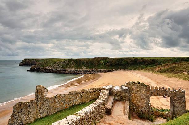 Sandy beach at Barafundle Bay, Pembrokeshire. stock photo