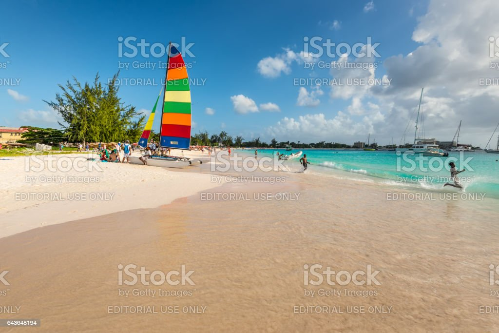 Sandy beach at Bridgetown, Barbados stock photo