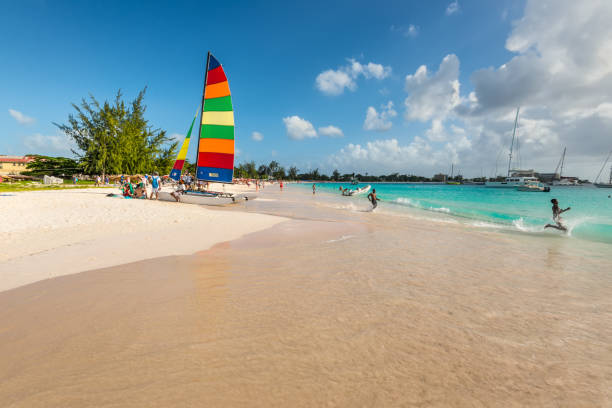 Sandy beach at Bridgetown, Barbados stock photo