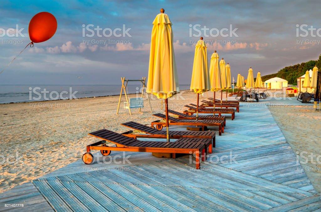 Sandy beach at the Baltic Sea stock photo
