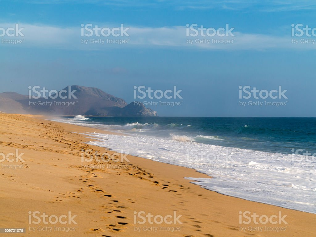 Sandy beach in Baja California Sur Mexico stock photo