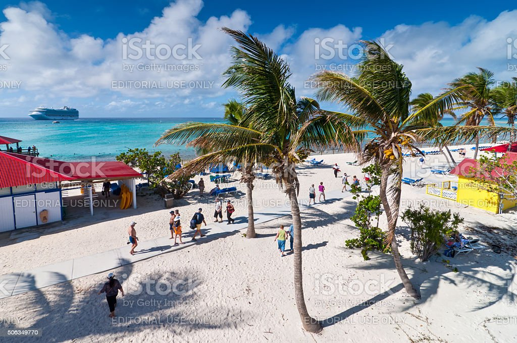 Sandy beach in the Bahamas stock photo