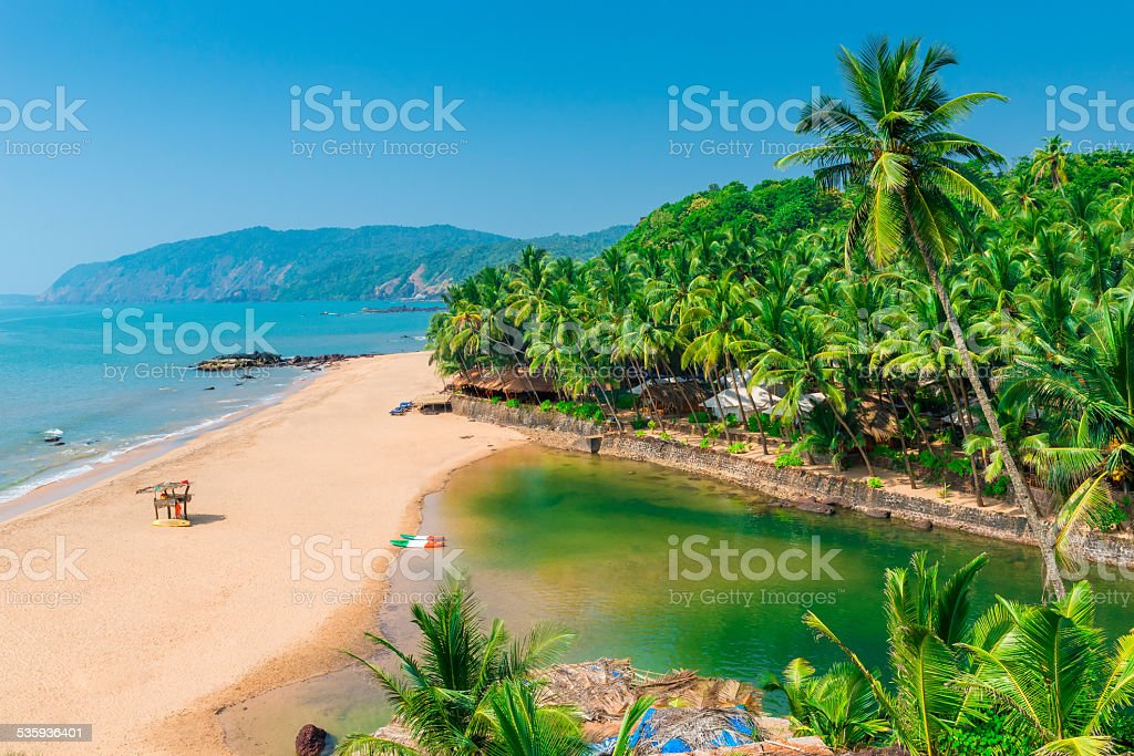 sandy beach in the beautiful resort location in Goa stock photo