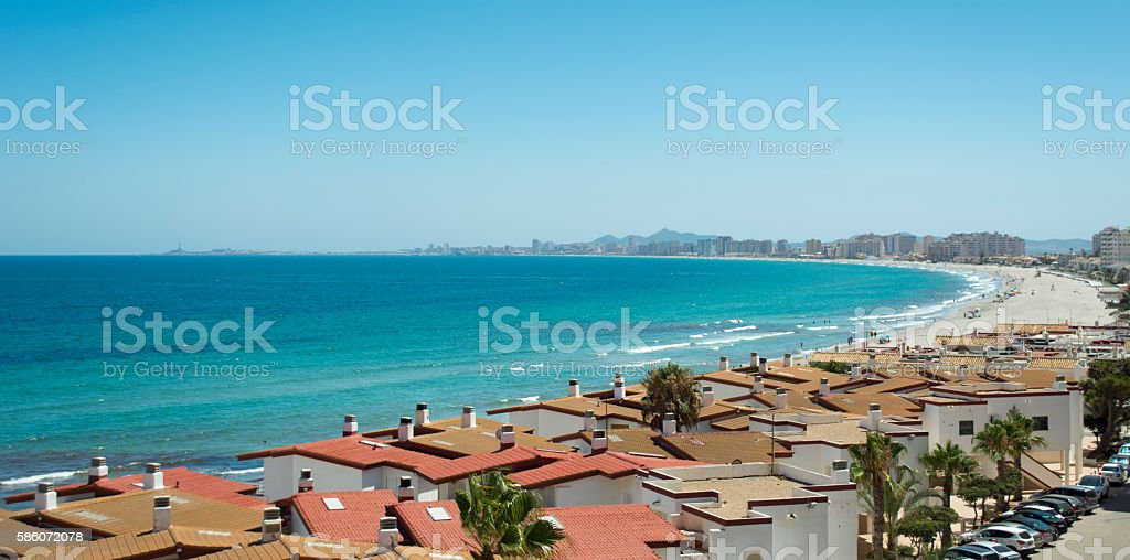 Sandy Beach - La Manga del Mar Menor, Spain stock photo