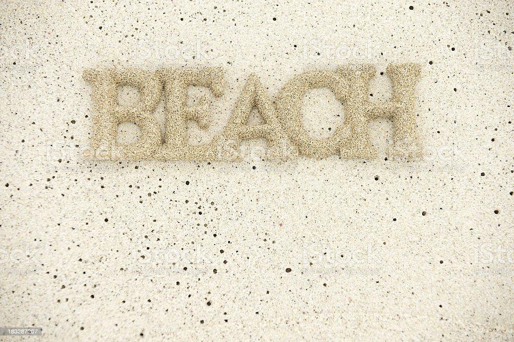 Sandy Beach Message on Textured Sand stock photo
