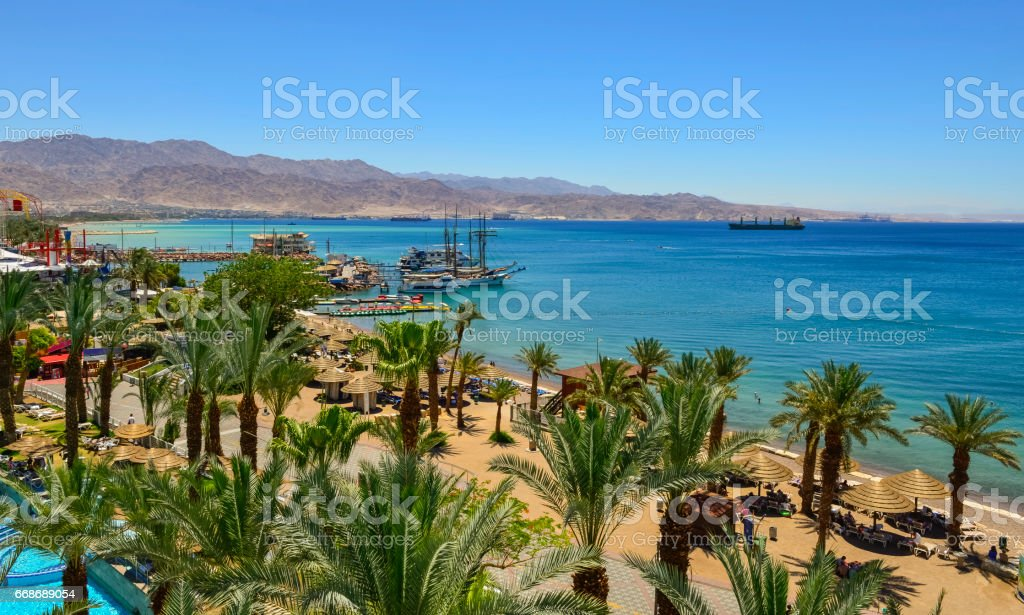 Sandy beach of Eilat, Israel stock photo