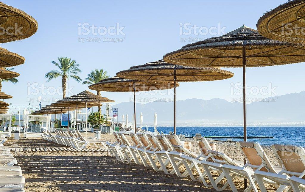 Sandy beach of Eilat stock photo
