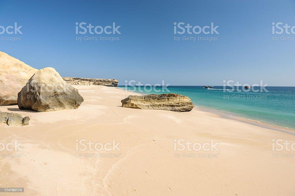 Sandy beach of Oman stock photo