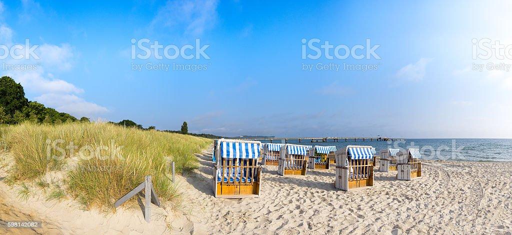 Sandy beach on island Rugen, panorama stock photo