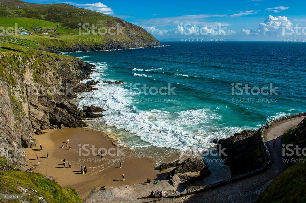 Sandy Beach on Slea Head in Ireland stock photo