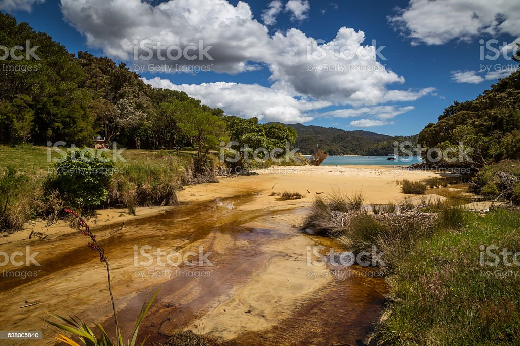 Sandy beach under a blue sky, New Zealand stock photo