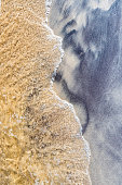 Sand beach sandy beach, view from above, imprint in the sand,