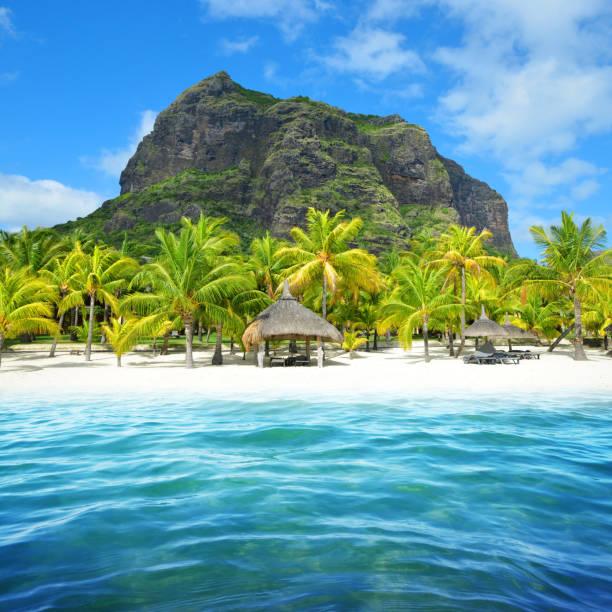 Sandy beach with Le Morne Brabant mountain in Mauritius island. stock photo