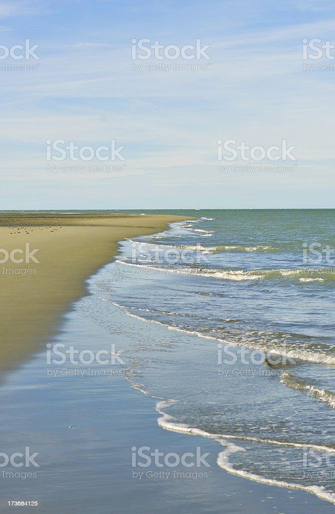 Sandy beach with shallow surf stock photo