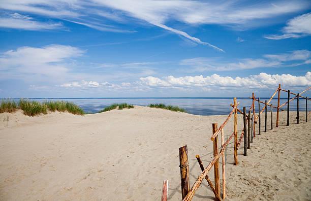 Sandy Dunes an Curonian Bay stock photo