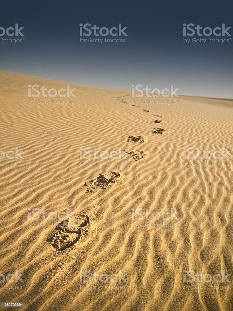 Sandy dunes path in the desert royalty-free stock photo