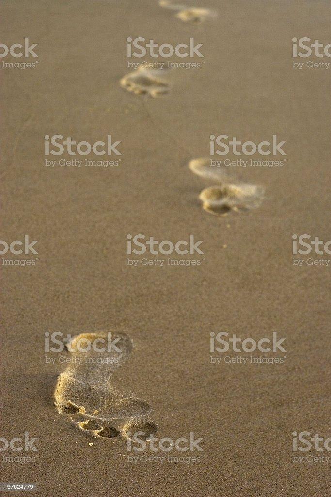 Footprints de sable photo libre de droits