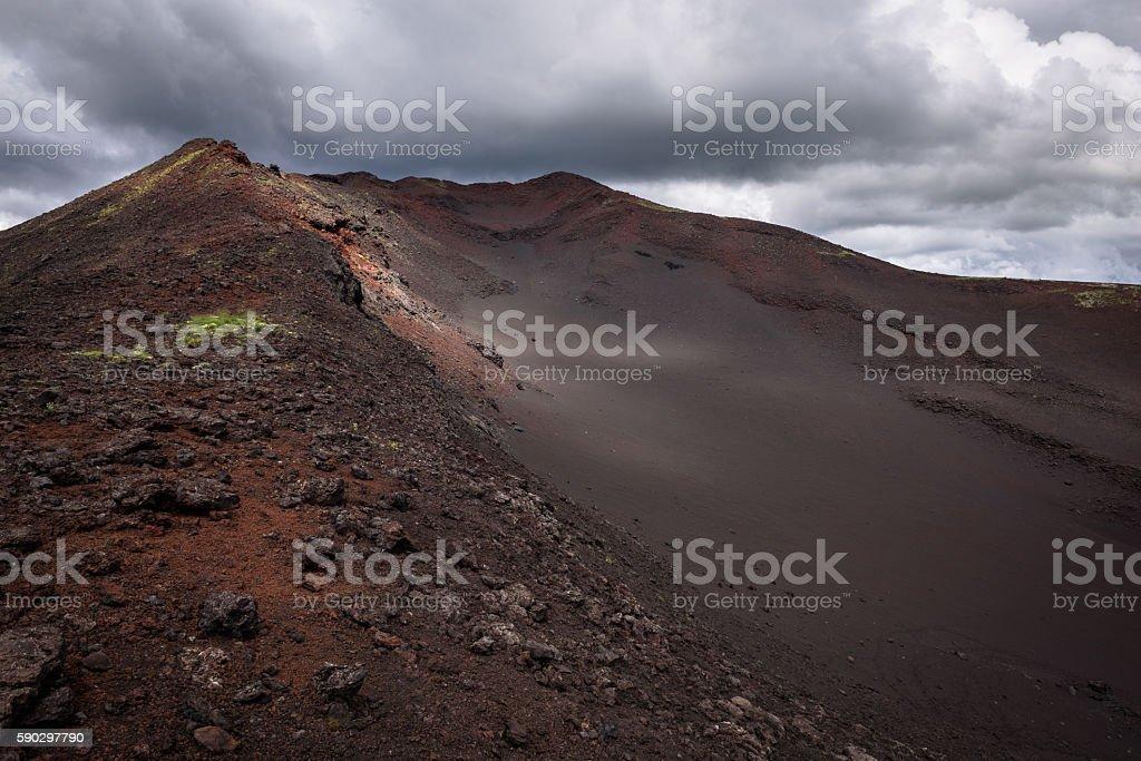 Sandy hill on the slopes of Tolbachik Volcano royaltyfri bildbanksbilder