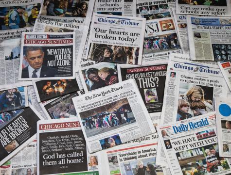 Sandy Hook school shooting newspaper collage horz