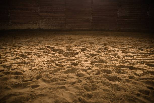 Sandy Horse Riding Arena stock photo