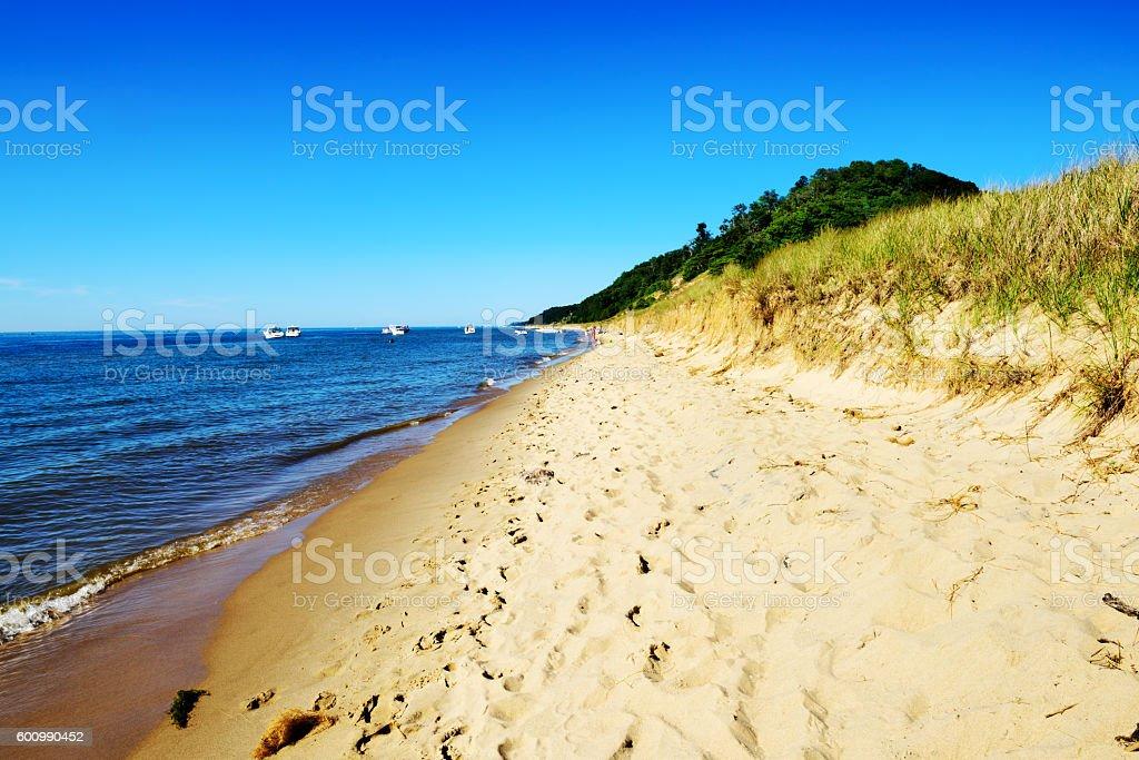 Sandy Lake Michigan beach, Saugatuck Dunes State Park stock photo