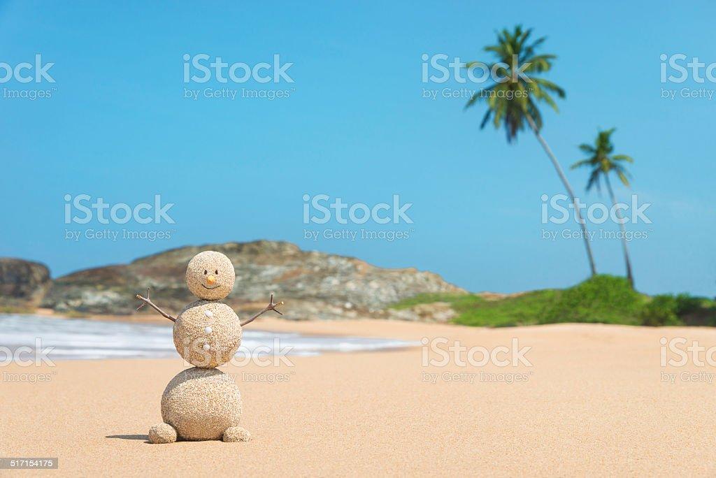 Sandy man at ocean beach against blue sky and palms stock photo